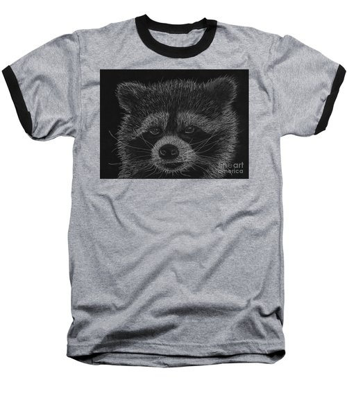 Cheeky Little Guy - Racoon Pastel Drawing Baseball T-Shirt