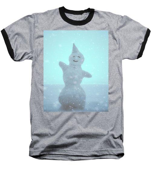 Baseball T-Shirt featuring the photograph Cheerful Snowman by Ari Salmela