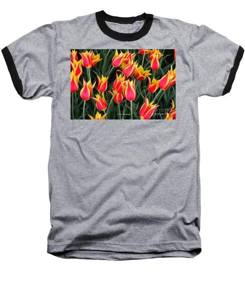 Cheerful Spring Tulips Baseball T-Shirt
