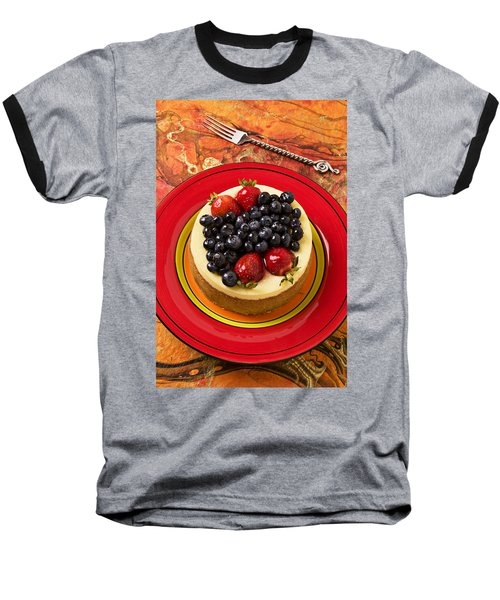 Cheesecake On Red Plate Baseball T-Shirt by Garry Gay
