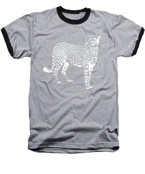 Cheetah Cut Out White Baseball T-Shirt by Greg Noblin