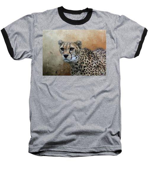 Cheetah Portrait Baseball T-Shirt by Eva Lechner