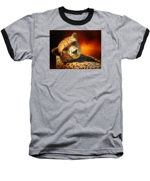 Cheetah Baseball T-Shirt by Suzanne Handel