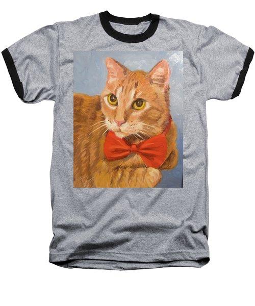 Cheetoh Cat Portrait Baseball T-Shirt by Alice Leggett