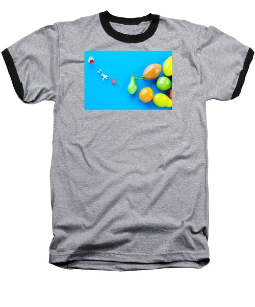 Baseball T-Shirt featuring the painting Chef Tumbled In Front Of Colorful Tomatoes II Little People On Food by Paul Ge