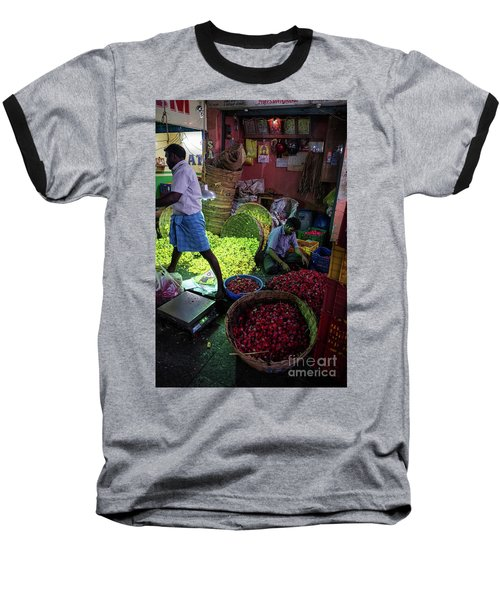 Baseball T-Shirt featuring the photograph Chennai Flower Market Busy Morning by Mike Reid