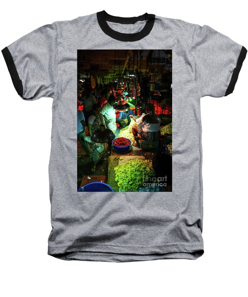 Baseball T-Shirt featuring the photograph Chennai Flower Market Stalls by Mike Reid