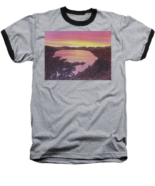 Baseball T-Shirt featuring the painting Cherokee Lake Sunset Number Seven by Joel Deutsch