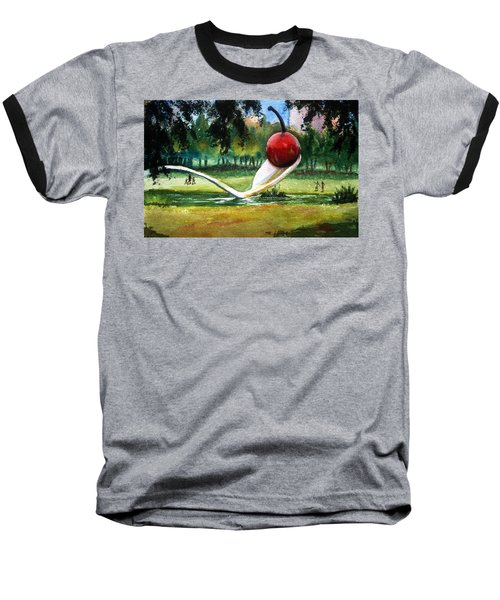 Baseball T-Shirt featuring the painting Cherry And Spoon by Marilyn Jacobson