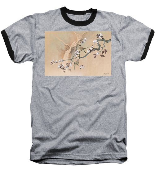 Cherry Blossom Tree And Two Birds Baseball T-Shirt