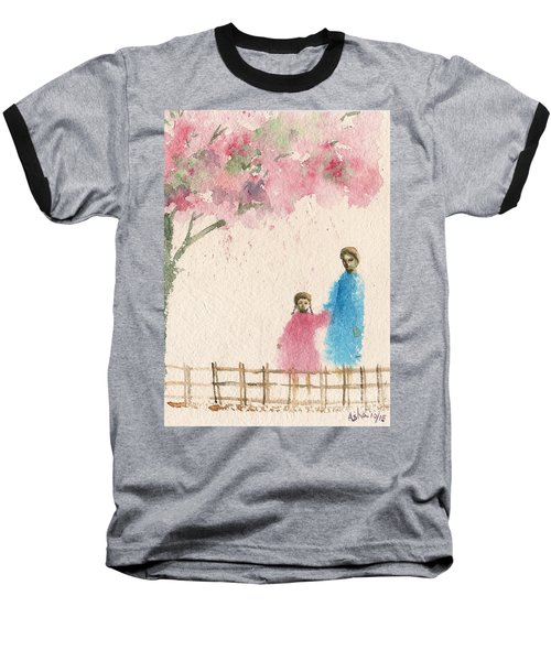 Cherry Blossom Tree Over The Bridge Baseball T-Shirt