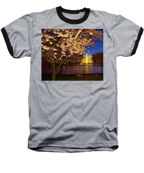Cherry Blossom Washington Monument Baseball T-Shirt