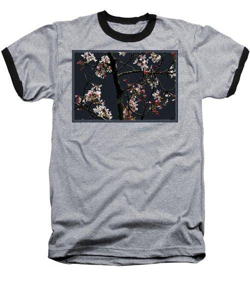 Cherry Blossoms On Dark Bkgrd Baseball T-Shirt