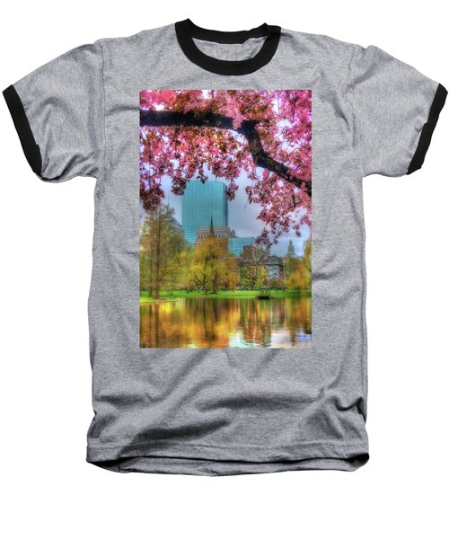 Baseball T-Shirt featuring the photograph Cherry Blossoms Over Boston by Joann Vitali