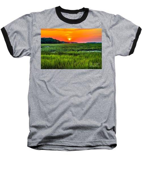 Cherry Grove Marsh Sunrise Baseball T-Shirt by David Smith