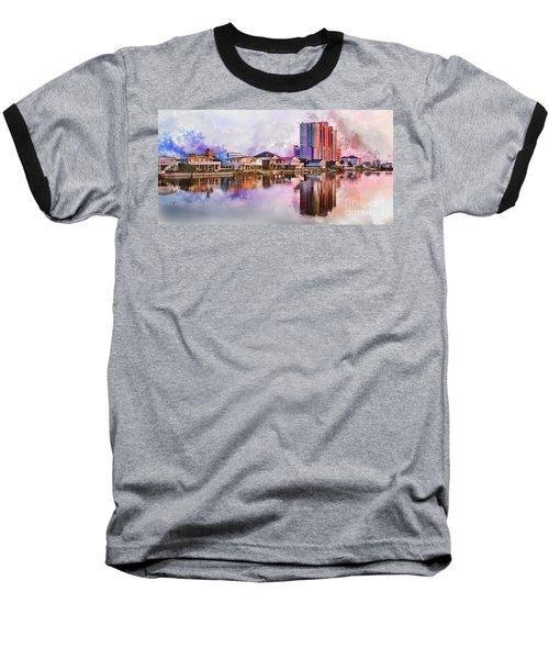 Cherry Grove Skyline - Digital Watercolor Baseball T-Shirt