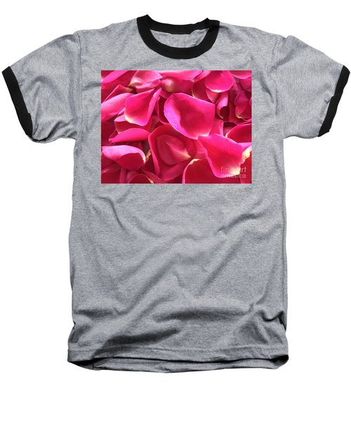 Cherry Pink Rose Petals Baseball T-Shirt