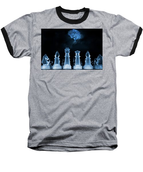 Baseball T-Shirt featuring the photograph Chess Game And Human Brain by Christian Lagereek