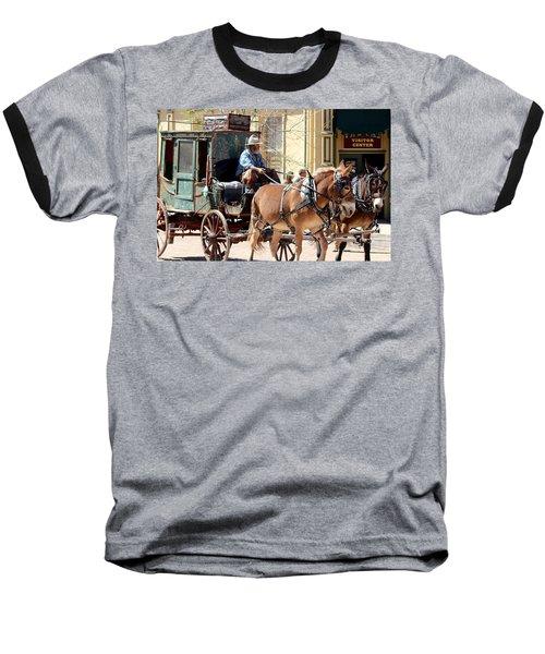 Chestnut Horses Pulling Carriage Baseball T-Shirt