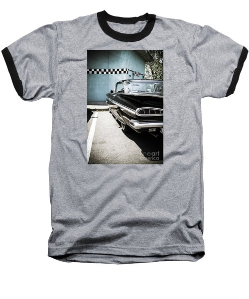 Chevrolet Impala In Front Of American Diner Baseball T-Shirt by Perry Van Munster