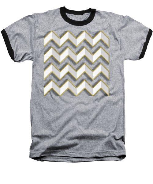 Baseball T-Shirt featuring the digital art Chevrons - Gold Edges by Chuck Staley