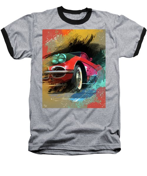 Chevy Corvette Digital Art Baseball T-Shirt