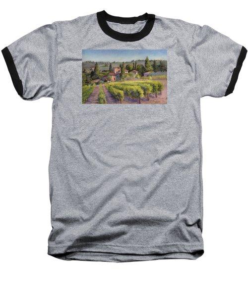 Baseball T-Shirt featuring the painting Chianti Vineyard by Vikki Bouffard