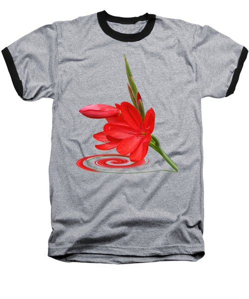 Chic - Ritzy Red Lily Baseball T-Shirt by Gill Billington