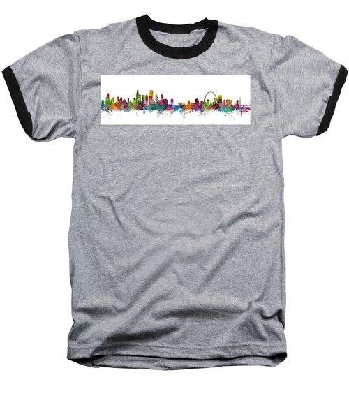 Chicago And St Louis Skyline Mashup Baseball T-Shirt by Michael Tompsett
