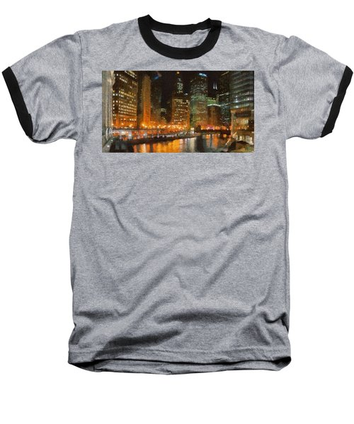 Chicago At Night Baseball T-Shirt by Jeff Kolker