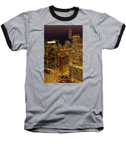 Chicago At Night Baseball T-Shirt