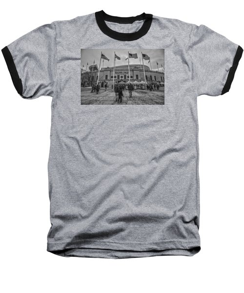 Chicago Bears Soldier Field Black White 7861 Baseball T-Shirt by David Haskett