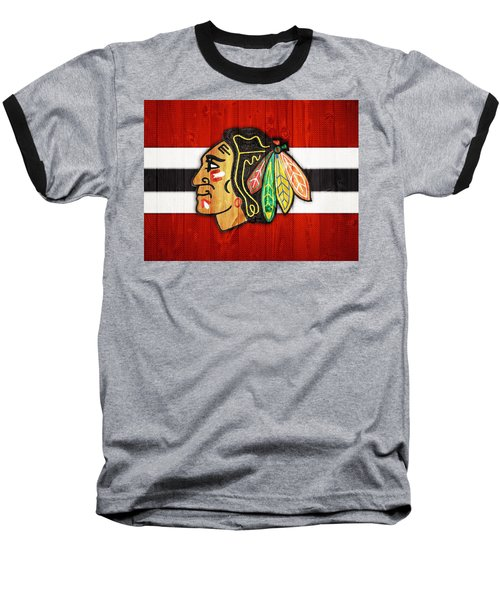 Chicago Blackhawks Barn Door Baseball T-Shirt by Dan Sproul