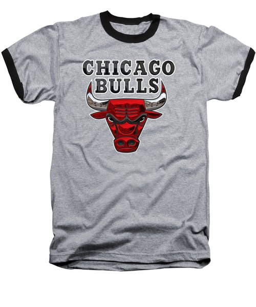 Chicago Bulls - 3 D Badge Over Flag Baseball T-Shirt by Serge Averbukh