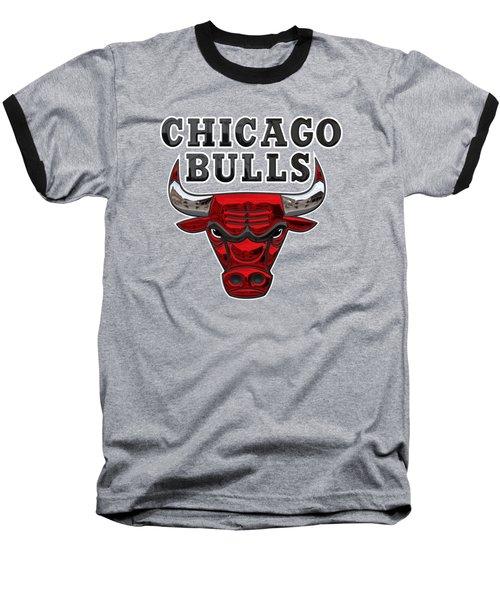 Chicago Bulls - 3 D Badge Over Flag Baseball T-Shirt