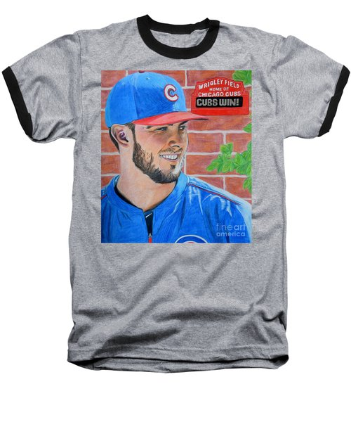 Chicago Cubs Kris Bryant Portrait Baseball T-Shirt by Melissa Goodrich