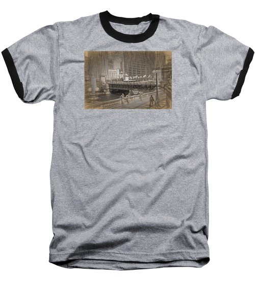 Chicago Dusable Bridge Street Scene Baseball T-Shirt