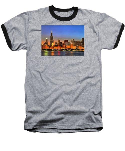 Baseball T-Shirt featuring the digital art Chicago Dusk by Charmaine Zoe