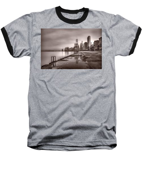 Chicago Foggy Lakefront Bw Baseball T-Shirt