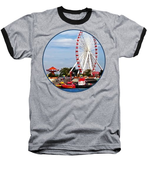 Chicago Il - Ferris Wheel At Navy Pier Baseball T-Shirt