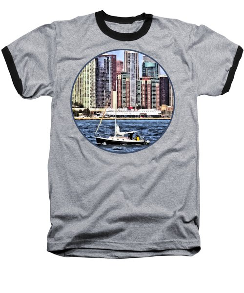 Chicago Il - Sailing On Lake Michigan Baseball T-Shirt by Susan Savad