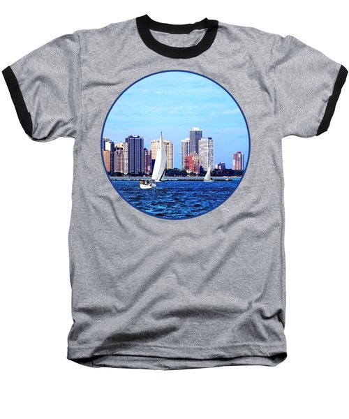 Chicago Il - Two Sailboats Against Chicago Skyline Baseball T-Shirt by Susan Savad