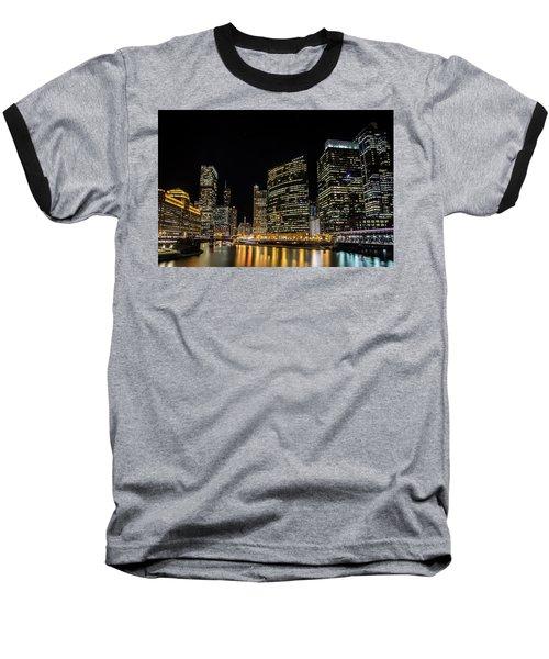 Chicago Night Skyline From Wolf Point Baseball T-Shirt
