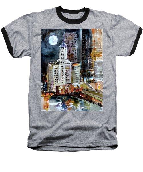 Chicago Night Wrigley Building Art Baseball T-Shirt