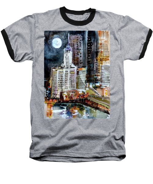 Chicago Night Wrigley Building Art Baseball T-Shirt