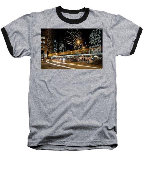 Chicago Nighttime Time Exposure Baseball T-Shirt