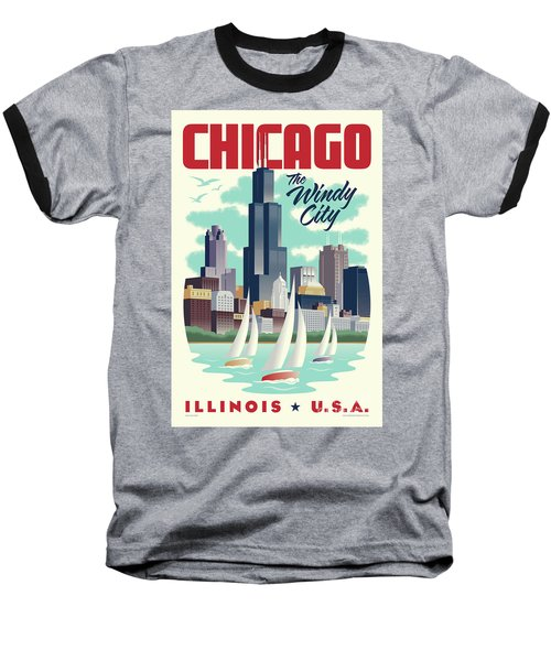 Chicago Retro Travel Poster Baseball T-Shirt by Jim Zahniser