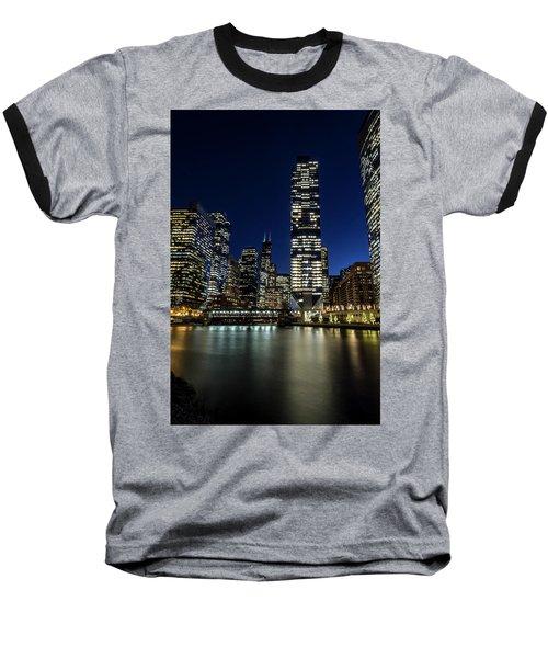 Chicago River And Skyline At Dusk  Baseball T-Shirt
