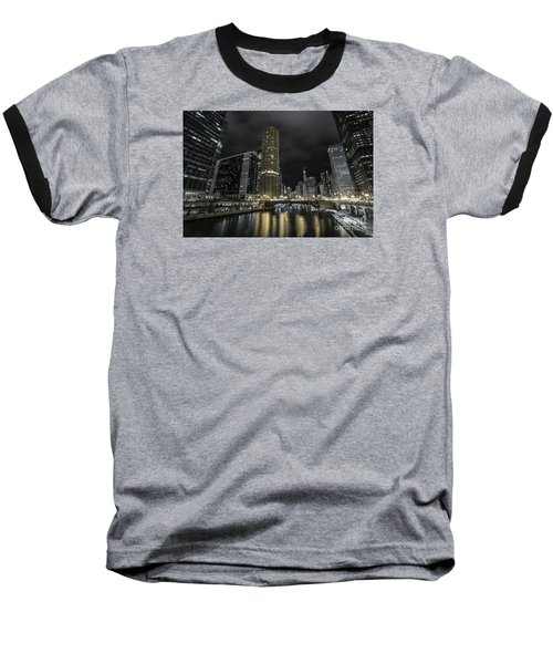 Baseball T-Shirt featuring the photograph Chicago Riverfront Skyline At Night by Keith Kapple