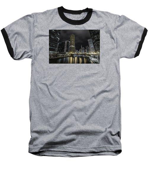 Chicago Riverfront Skyline At Night Baseball T-Shirt